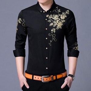 Image 2 - Brand Wine Red Mens Dress Shirts 2018 Fashion Golden Rose Flower Print Button Down Shirt Men Slim Fit Long Sleeve Chemise Homme