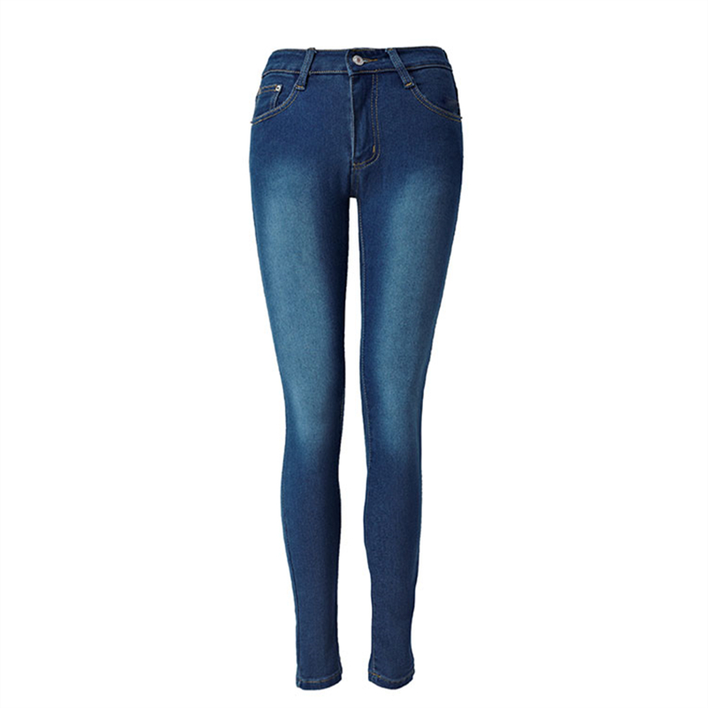 Europe 2017 New Fashion Leisure Dark Blue Jeans with High Waist Stretch Slim Pencil Pants Female Trousers Washed Jeans for Women 2016 new europe women lapel waist slim dark denim jumpsuit pants female fashion clothing night club n4030