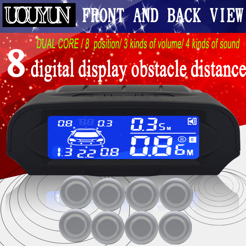 8 / sensori Kit di sensori di parcheggio LCD per auto NY8080 Display per tutte le auto, parcheggio, rilevatore di parcheggio, assistenza al parcheggio, sensore di parcheggio