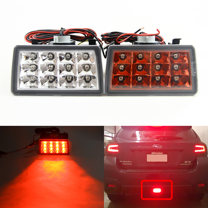Red / Clear Lens Led Rear Fog Light Brake Backup Reverse Light Kits For Subaru Impreza 11-15 For WRX/STi XV Crosstrek 2pcs brand new high quality superb error free 5050 smd 360 degrees led backup reverse light bulbs t15 for jeep grand cherokee