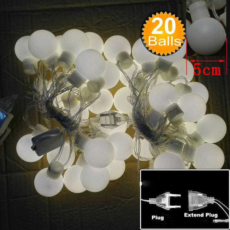 dhl novelty outdoor lighting 5cm big size led ball string lamps black wire christmas lights fairy wedding garden pendant garland in led string from lights
