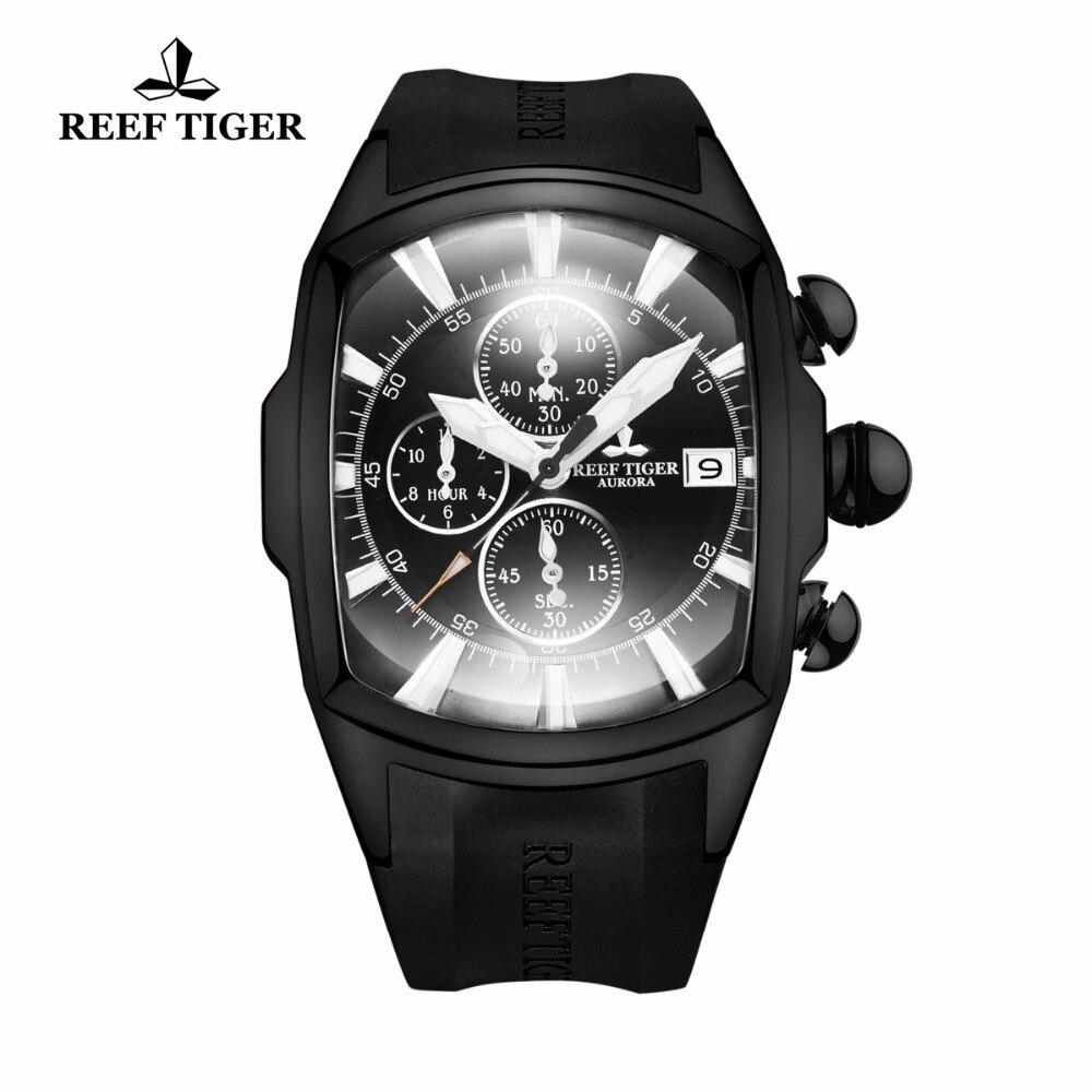 2018 nouveauté récif tigre/RT grande montre hommes étanche 100 M tout noir Sport montres Date chronographe Relogio RGA3069-T