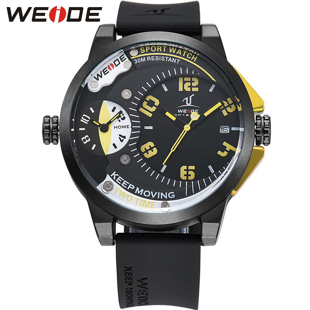 WEIDE Brand Black Yellow Big Dial Watch Men Dual Time Zone Waterproof Unique Fashion Casual Quartz Wristwatches Male Clock Gift