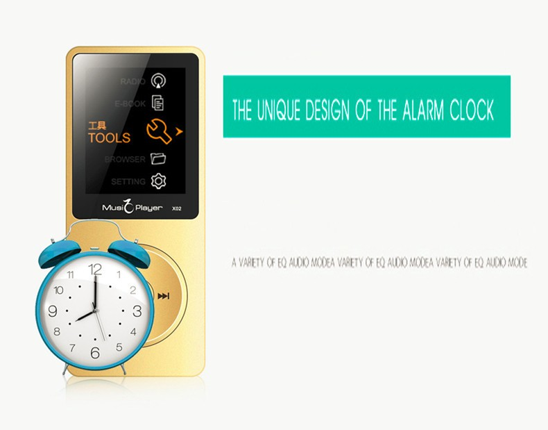 IQQ X02 8GB MP3 Music Player 1.8 Inch Screen 30h lossless sound, Support up to 64GB Micro SD Card Gold Built in Speaker FM Ebook (16)