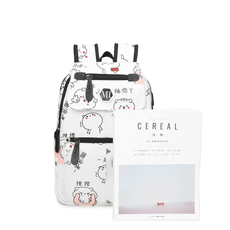 3 Pcs/set Usb Charging Canvas Women Backpack Printing School Backpacks Schoolbag For Teenagers Student Book Bag Girl Boy Satchel #2