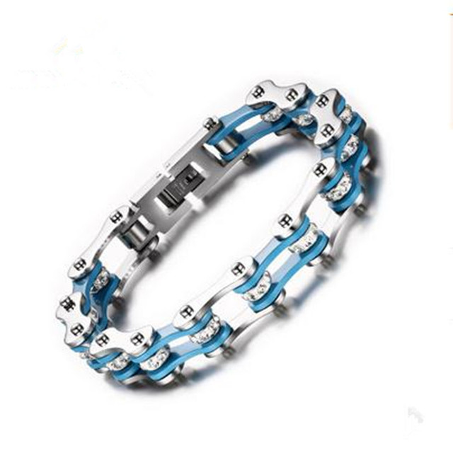 Fashion men 's blue stainless steel bracelet jewelry fashion titanium steel wholesale bicycle chain jewelry BR - 197