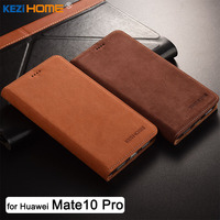 For Huawei Mate 10 Pro Case KEZiHOME Luxury Matte Genuine Leather Flip Stand Leather Cover For