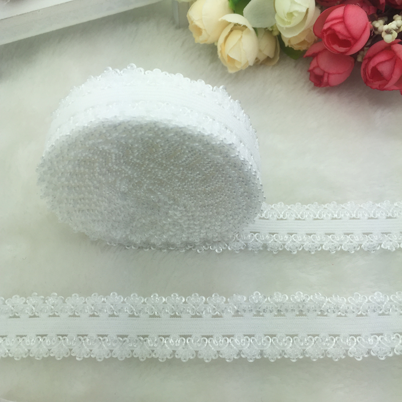 5 ярдов/партия 3/4 «20 мм многоцелевой белый раза более упругой спандекс кружево повязка-галстук волос аксессуары шнуруют отделку для вышивания