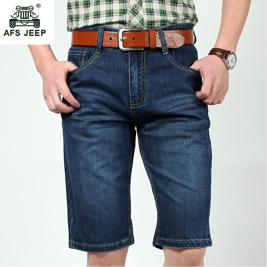 Men Summer Cool Big Size 29-42 High Quality Elastic Mens Jeans Shorts Male 5 Point Short ...