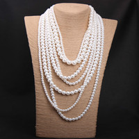 New Multilayer White Pearl Jewelry Long Sweater Chain Necklace Exaggerated Boho Strand Beaded Pearls Necklaces Women