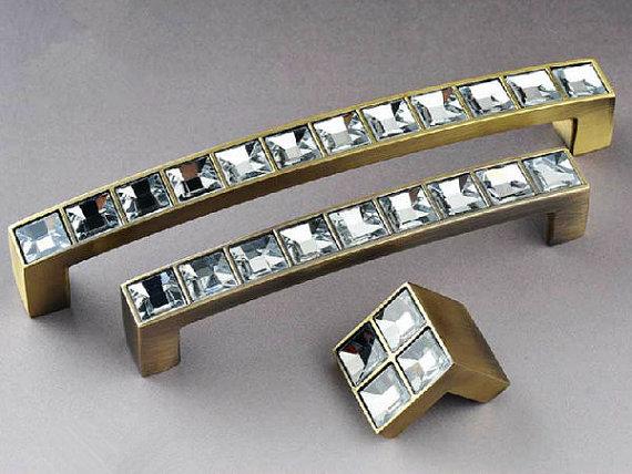 Sparkle Glass Dresser Drawer Knobs  Pulls Bronze Metal / Shiny Clear Crystal Kitchen Cupboard Cabinet Handle Pull Knobs Hardware golden bronze sparkle