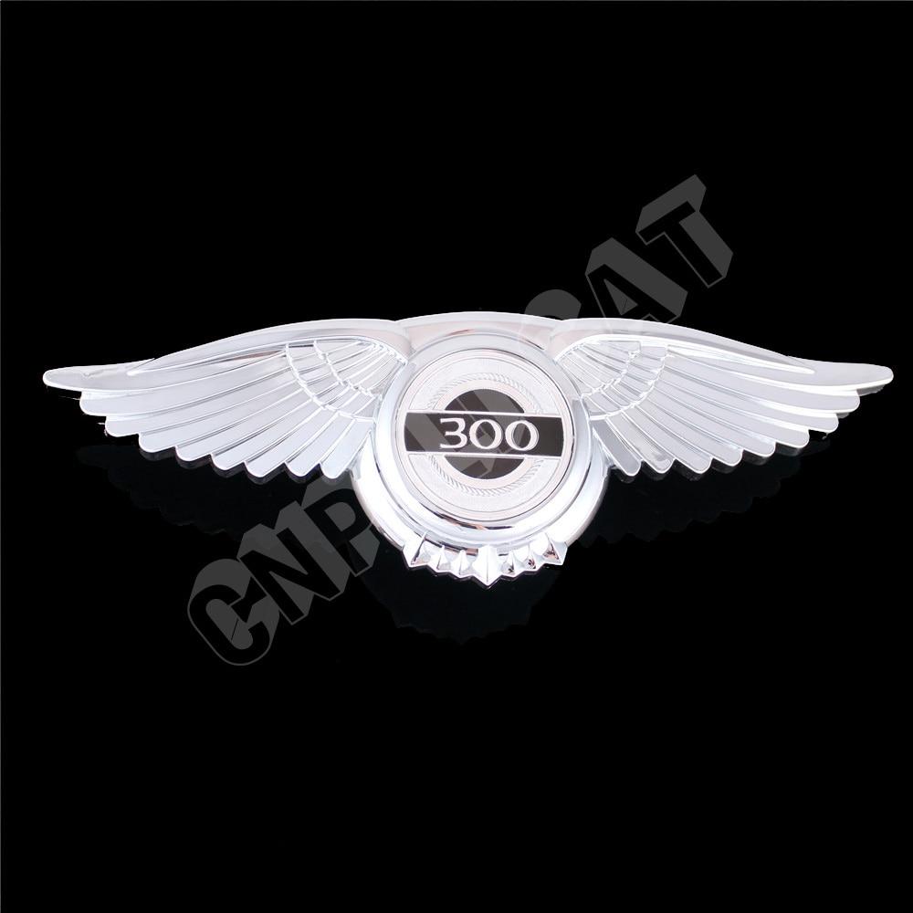 3D Chrome Angel Wing 300 Logo Car Front Hood Bonnet Emblem Decal Sticker For Chrysler 300 300C