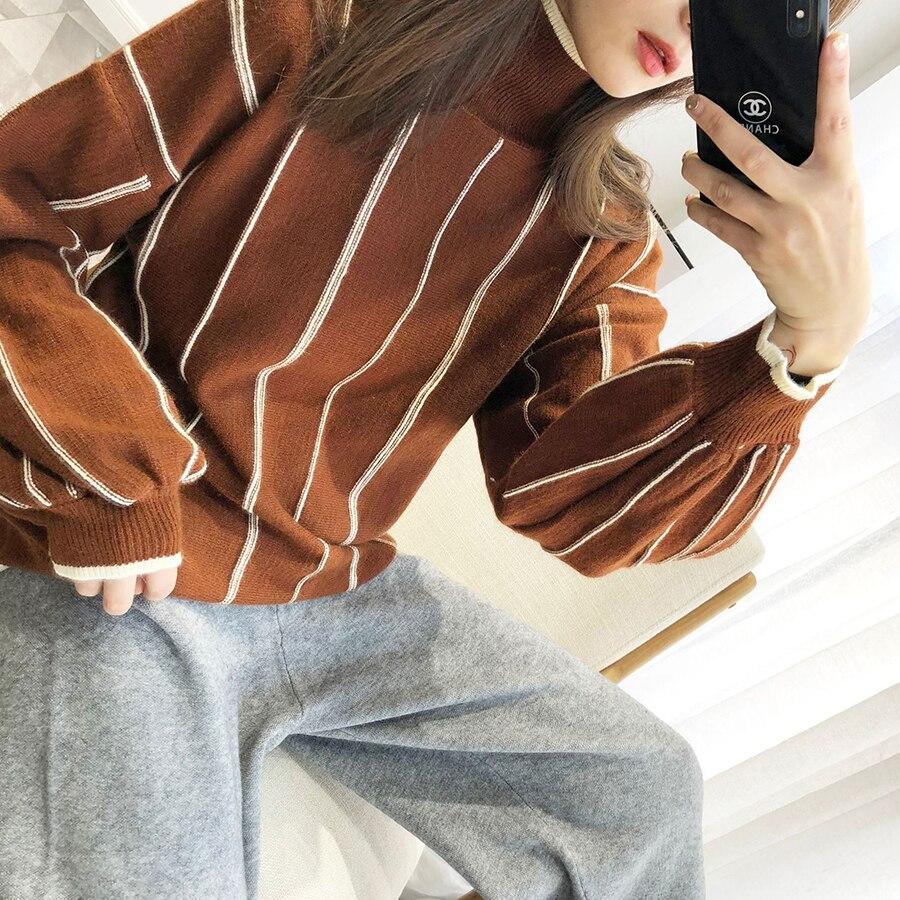 borgoña blanco Tops Sueltas Caliente Las Fincati Negro De Cuello Manga Mujeres naranja Jersey Linterna Moda Patchwork Suéter Punto Llegada Largo 2019 Nueva Elegante SSBw1gqU
