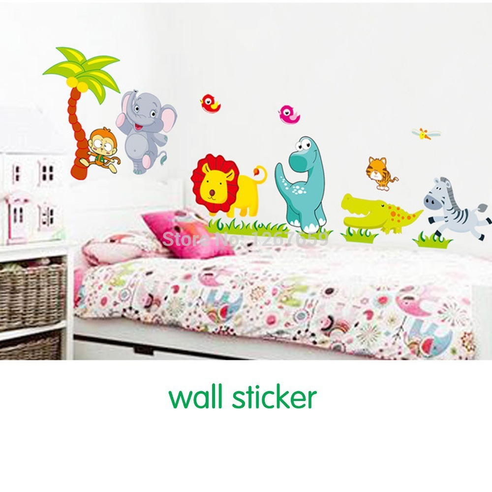Free shipping Three generations of removable wall stickers children's room baby nursery room decor happy zoo