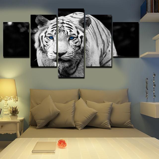 5 פנל כחול עיני הדפסת ציור שמן ציור בד נמר לבן על בד עיצוב בית אמנות קיר תמונה לסלון לא ממוסגר