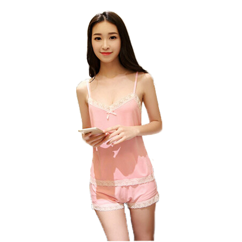 yomrzl New Arrival Summer Womens daily v-neck soft lace thin sleeveless sleepwear home pajama pyjama set M120