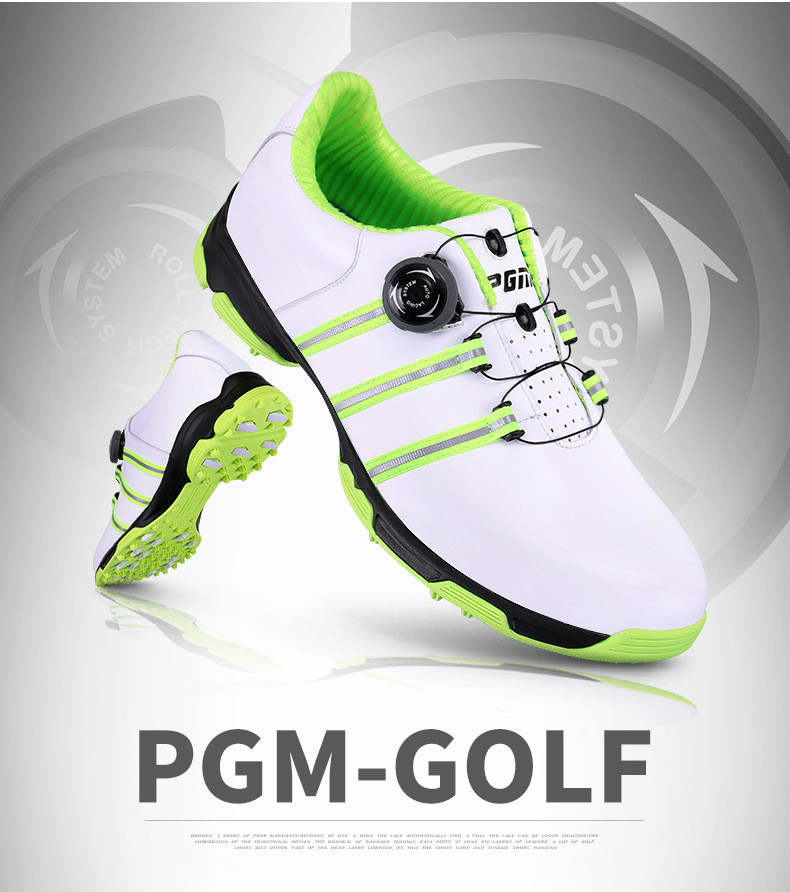 2018 PGM golf shoes mens Head layer Cowhide Anti Slip Patent Breathable Slot Patent Summer Waterproof Knobs Buckle Shoes