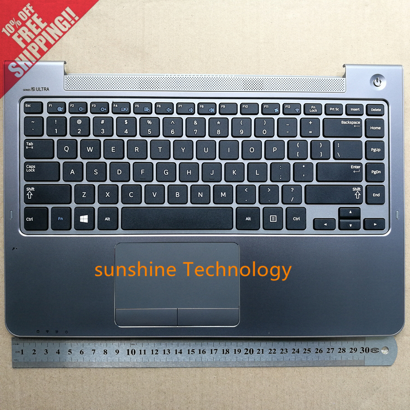 US new laptop keyboard with palmrest for samsung NP530U4B 530U4B 530U4C NP535U4B 535U4C 535U4X NP532U4C NP530U4C BA75-04038A genuine new palmrest cover upper case with touchpad us korean keyboard gray for samsung laptop np530u4b np530u4c np535u4c