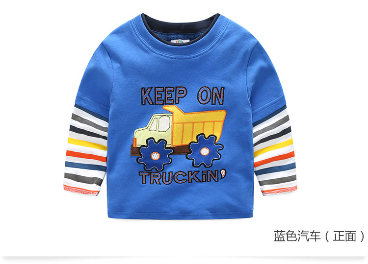 2018 Spring Autumn For 2-9 10 Years Children Cotton Striped Patchwork Cartoon Car Bus Truck Baby Kids Boys Long Sleeve T Shirts (33)