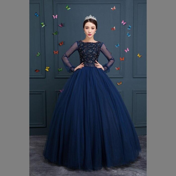 100% navy blue beading long Medieval dress Renaissance Gown princess ...