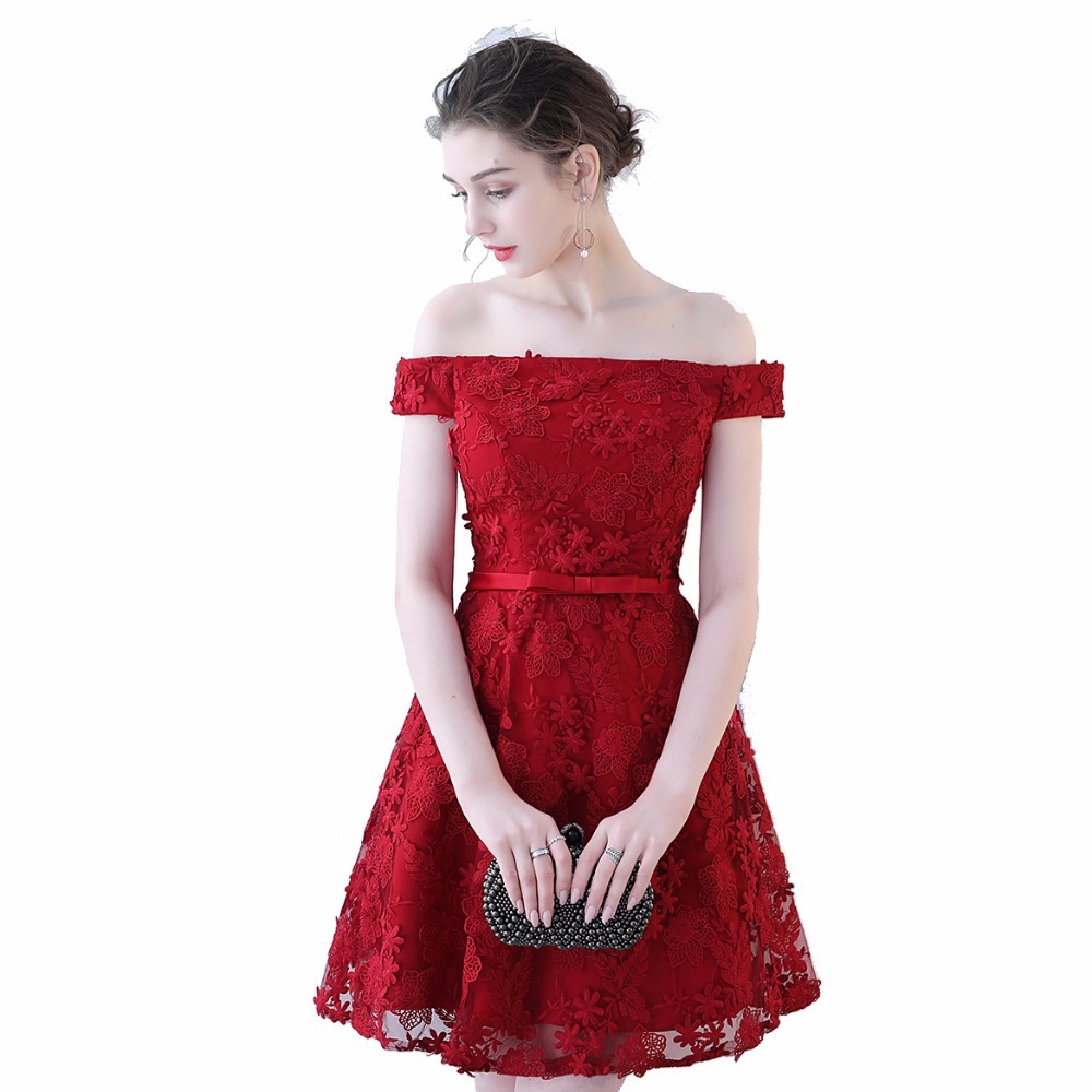Ceewhy Boat Neck Mini Formal Dress Burgundy A Line Lace Dress Lace
