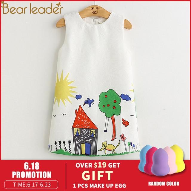 Oso Leader niñas vestidos 2019 nueva marca primavera princesa vestido niños ropa Graffiti diseño impreso para Niñas Ropa 3-8 y