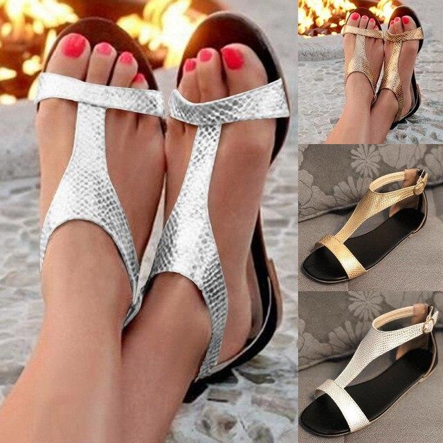 2019 kadın Sandalet Bahar Yaz Bayanlar Ayakkabı Açık Toe Nefes Plaj Toka Kayış Sandalet Roma Rahat düz ayakkabı Sıcak