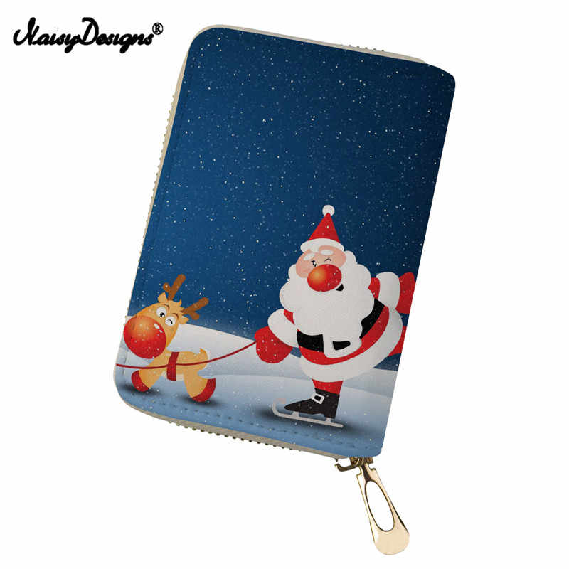 23f5498592d3 Card Bag for Men Christmas Prints ID Card Bags Leather Clutch Credit ...