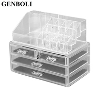 GENBOLI 4 Drawer Rings Carrying Storage Jewelry Box Clear Acrylic Cosmetic Makeup Organizer Tool Holder Dresser Stand Case
