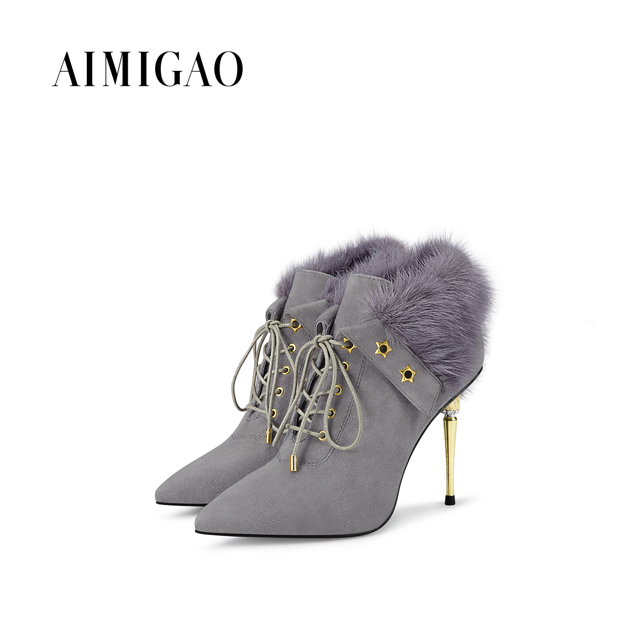 AIMIGAO 2017 winter new suede leather pointed toe high heel ankle boots luxury women's mink hair boots fashion belt buckle shoes