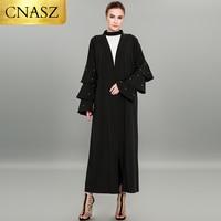 Ruffle long sleeve abaya pearls kaftan European style big size dubai dress Luxury Turkey clthing font open