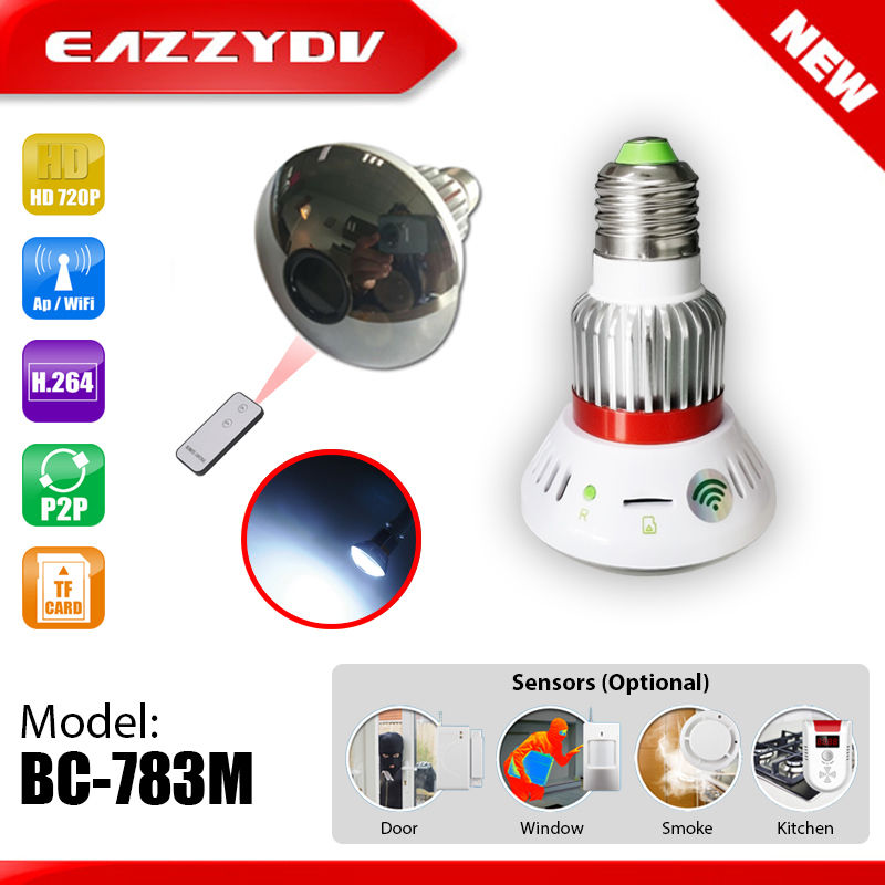 783M HD 960P Mirror WiFi Bulb P2P IP Network Camera White Light Output Remote Control Support Alarm Sensors 2017 New Arrival bc 883m mirror bulb lamp camera hd 960p wifi ap hd 960p ip network camera with real light remote control 2017 new arrival