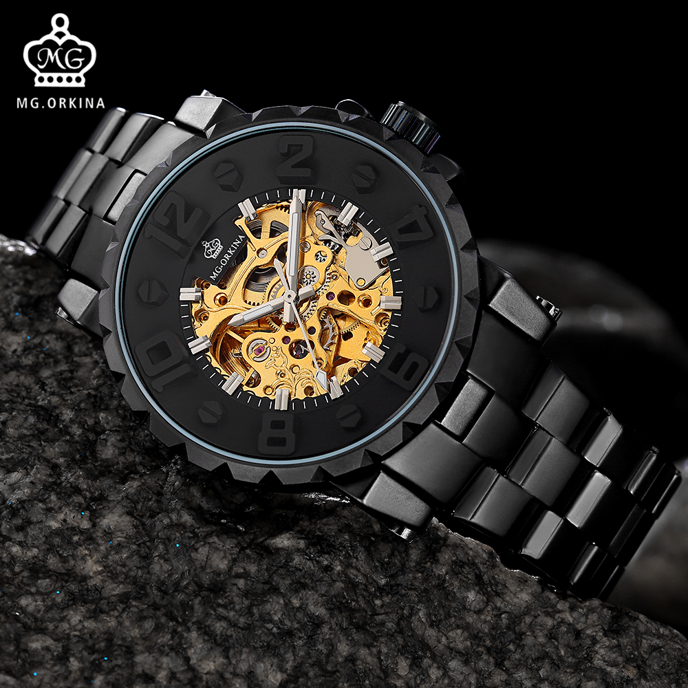 New Fashion Mechanical Watches Men MG. ORKINA Top Brand Luxury Golden Skeleton Watch reloj hombre automatico Relogio MasculinoNew Fashion Mechanical Watches Men MG. ORKINA Top Brand Luxury Golden Skeleton Watch reloj hombre automatico Relogio Masculino