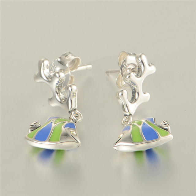 Fits Chamilia Charms Jewelry 100% 925 Silver Enamel Earring Sea Fish Sterling-Silver-Jewelry Earrings for Women Charm Jewelry