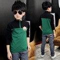 Los niños de calidad superior del remiendo viste camiseta de los muchachos de los niños de ropa de manga larga ropa otoño primavera Soft Cotton Zipper Tops