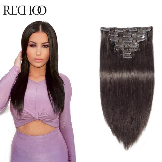 100 Real Indian Human Hair Extensions Clip In African American