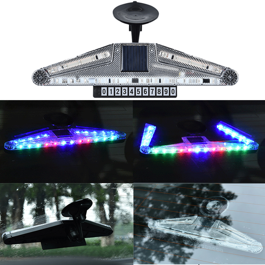New Car Auto Strobe Knight Rider Solar Energy Light Decorative Warning Flash Lamp LED RGB Day Lights Anti Rear End Windshield 1x solar energy led car auto sticker flash warning light taillights magnetic white shark gills fog lamp safety car styling