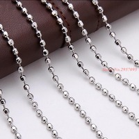 100 Pcs/Lot High Quality Silver Stainless Steel Round Beads Long Chain Necklaces For Men Women Fashion Jewelry