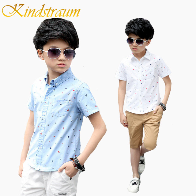 Us 9 99 Kindstraum Boys Summer Shirts Short Sleeve Boy S Shirts Casual Kids Tops Letter Hat Printed Brand Fashion Children Clothes Mc577 In Shirts