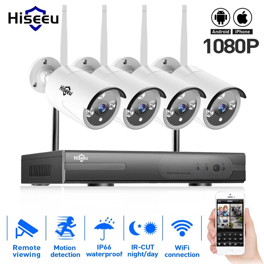 1080P Wireless CCTV System 2TB HDD 2MP 4CH Powerful NVR IP IR CUT Bullet CCTV Camera