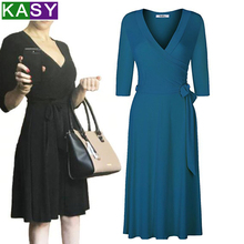 Spring summer dresses OL V neck solid bodycon slim elegant midi dress vestido casual women Belted Work plus size 3XL