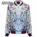 AZULINA Ladies Jacket Women Trendy Round Neck Long Sleeve Flower Print Coat Fashion Zipper Wide-waisted Coat Leisure