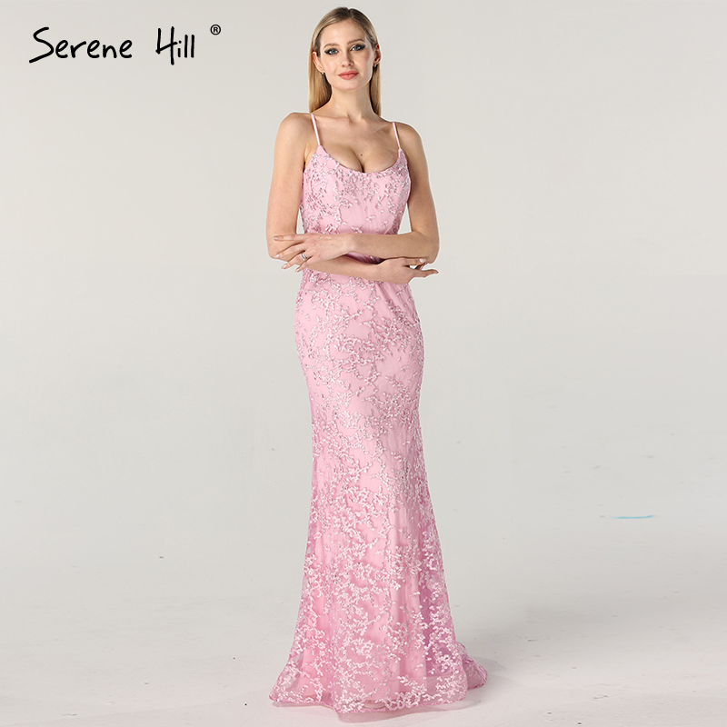 Spaghetti Straps Dubai Design Lilac Sexy Mermaid Evening Dresses Long 2019 Real Photo Sleeveless Tulle Evening Gowns BLA6673