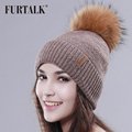 FURTALK Raccoon Fur Pom Pom Hat Wool Hat Women Winter Fur Hat