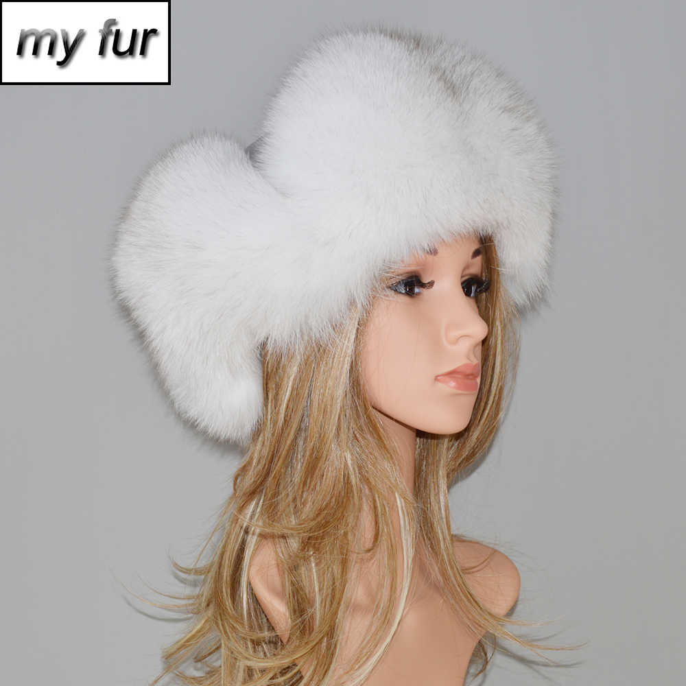 412810ed96f6e2 Winter Fur Hat For Women Natural Raccoon Fox Fur Russian Ushanka Hats Female  Thick Warm Ears
