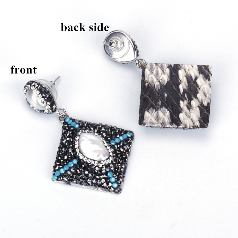 Personalized Jewelry Big Natural Ivory Freshwater Pearl Bead Charm Pave Rhinestone Square Grey Leather Dangle Earring For Women