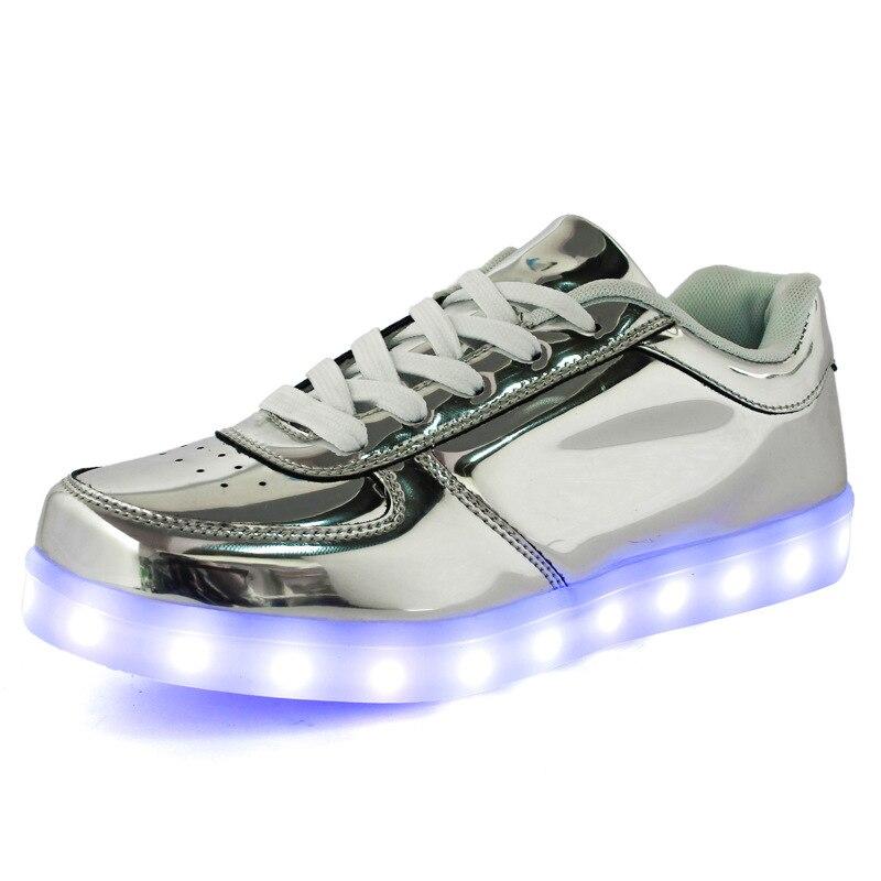 Zapatillas 2017 Hombres Casual Zapatos Primavera Luminosa Lámpara Led Oro Adultos Cordones Unisex Hombre Para plata otoño Luces Grow 6BBWURr7