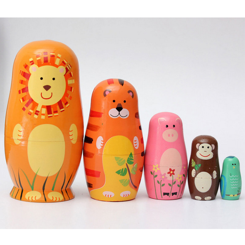 5Pcs/Lot Wildlife Matryoshka Doll, Ethnic Dolls,Fashion Doll,Russian Doll,Home Decoration,Birthday Gifts,Christmas Ornament.Gift
