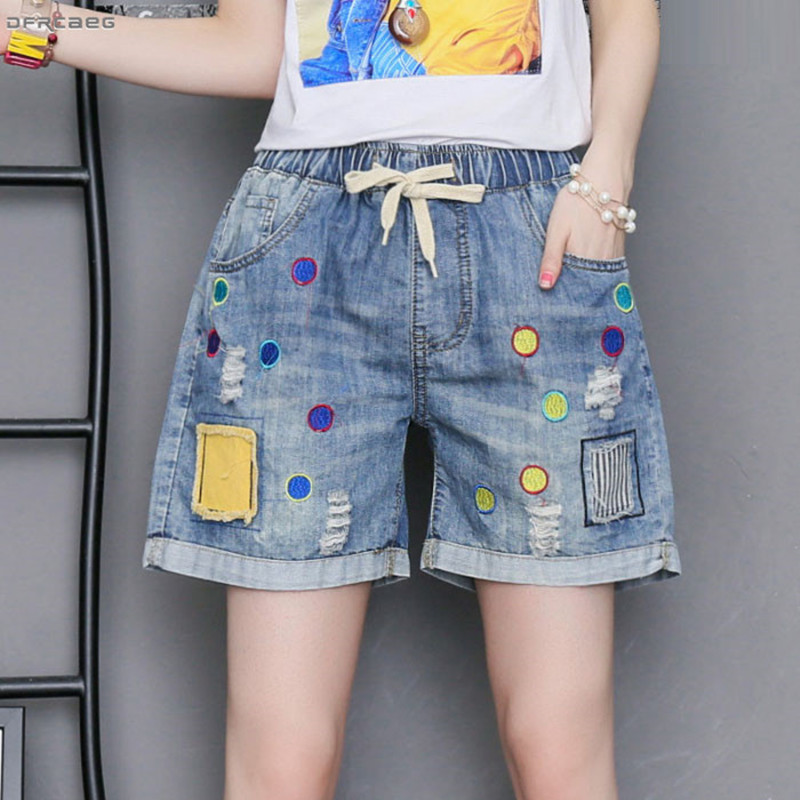 Patchwork Embroidery Plus Size Women Shorts Jeans 2019 Fashion High Waist Retro Summer Shorts Denim Femme Saia Jeans 3XL 4XL