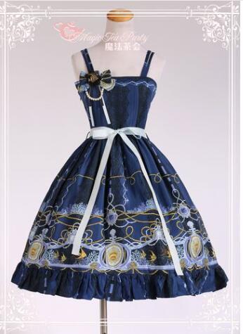 Sweet Angel Fish Series Printed Lolita JSK Sleeveless Cotton Lolita font b Dress b font by